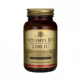 Solgar Vitamin D3 2200IU (55μg) Συμπλήρωμα Διατροφής Βιταμίνης D3 με Πολλαπλά Οφέλη για τον Οργανισμό, Ιδανικό για την Υγεία των Οστών & των Αρθρώσεων, 100veg.caps