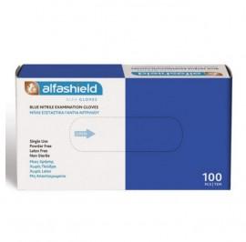 Alfashield Γάντια Νιτριλίου Μιας Χρήσεως Χωρίς Πούδρα Medium (7-7,5) Μπλε Χρώμα, 100τμχ