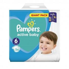 Pampers Active Baby Πάνες Giant Pack Μέγεθος 6 (13-18 kg), 56 Πάνες