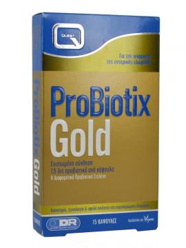Quest Pro Biotix Gold Ενισχυμένο Συμπλήρωμα Προβιοτικών με 8 Διαφορετικά Στελέχη, 15caps