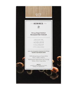 Korres Argan Oil Ageless Colorant Μόνιμη Βαφή Μαλλιών 9.17 Κατάξανθο Ανοικτό Μπέζ 50ml