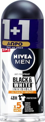 Nivea Men Αποσμητικό Roll-on Ανδρικό Black & White Invisible Ultimate Impact 48ωρης Προστασίας 1+1 ΔΩΡΟ, 2x50ml