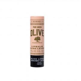 Korres Lip Balm Olive Pure Greek Baume Levres Tint,με έλαιο Macadamia Oil & βούτυρο Mango, με διακριτική ροζ απόχρωση, 5ml