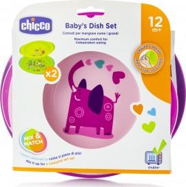 Chicco Babys Dish Set 12m+ Ροζ, 2τμχ