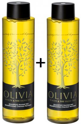 Olivia Gift Set Shampoo Normal Hair Σαμπουάν για Κανονικά Μαλλιά με Ελιά, 2x300ml 1+1 ΔΩΡΟ