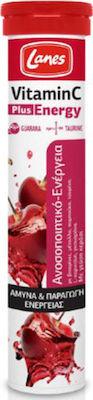 Lanes Vitamin C 500mg Plus Energy για Ενίσχυση Ανοσοποιητικού & Ενέργεια με Γεύση Κεράσι 20 Αναβράζουσες Ταμπλέτες