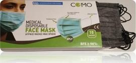 Μάσκες ComoMed Χειρουργικές Μιας Χρήσης Τριπλής Ύφανσης - Μάσκα Χρώματος Μαύρο-Ανθρακί 10τεμαχίων, BFE >99%, Type II, Ελληνικής Κατασκευής, Συσκευασία