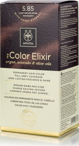 Apivita Βαφή Μαλλιών 5.85 My Color Elixir Κit Μόνιμη Καστανό Ανοιχτό Περλέ Μαόνι