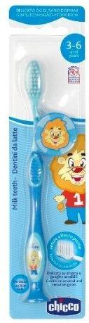 Chicco Milk Teeth Toothbrush 3-6 Years Soft Μπλε Λιοντάρι, 1 τμχ