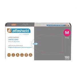 Γάντια Alfashield Latex Ελαφρώς Πουδραρισμένα μη Αποστειρωμένα (M), 100τμχ