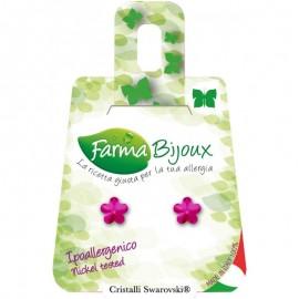 Farma Bijoux Σκουλαρίκια Φούξια Λουλούδι 6mm, 1 Ζευγάρι
