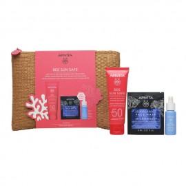 Apivita Πακέτο Προσφοράς Bee Sun Safe Νεσεσέρ με Anti-Spot & Anti-Age Face Cream SPF50 Κρέμα Προσώπου κατά των Πανάδων & των Ρυτίδων, 50ml & Aqua Beelicious Booster, 10ml & Express Beauty Face Mask Sea Lavender, 2x8ml