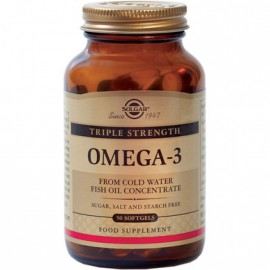 Solgar Omega 3 Triple Strength Συμπλήρωμα Διατροφής με Ωμέγα 3 Λιπαρά Οξέα για την Υγεία του Εγκεφάλου & του Καρδιαγγειακού Συστήματος, 50 softgels
