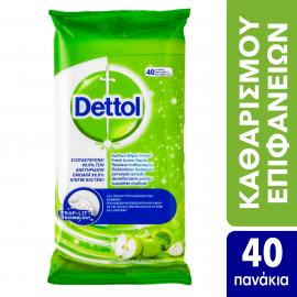 Dettol Αντιβακτηριδιακά Πανάκια Καθαρισμού Πολλαπλών Χρήσεων με Άρωμα Πράσινο Μήλο, 40 τεμάχια