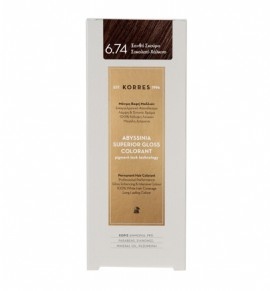 Korres Abyssinia Superior Gloss Colorant Μόνιμη Βαφή Μαλλιών 6.74 Ξανθό Σκούρο Σοκολατί - Χάλκινο 50ml