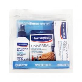 Hansaplast Κιτ Περιποίησης Πληγών Hansaplast Σπρέι για Πληγές 100ml + Hansaplast Universal 20 Strips + Hansaplast Κρέμα Επούλωσης Πληγών 50gr