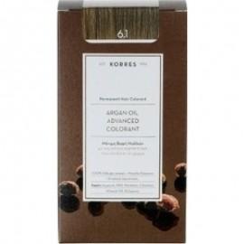 Korres Argan Oil Advanced Colorant Μόνιμη Βαφή Μαλλιών 6.1 Ξανθό Σκούρο Σαντρέ 50ml