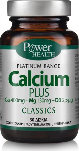 Power Health Classics Platinum Range Calcium Plus, Συμπλήρωμα με Ασβέστιο, Βιταμίνη D3 και Μαγνήσιο, 30 Ταμπλέτες