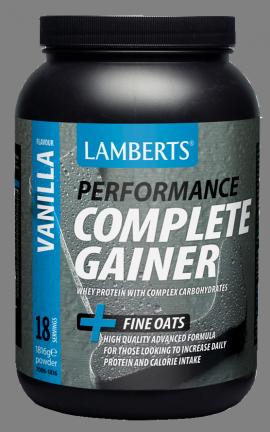 Lamberts Performance Complete Gainer Whey Protein Πρωτεΐνη Ενισχυμένη με Σύνθετους Υδατάνθρακες, Κρεατίνη, Βήτα Αλανίνη & HMB με Γεύση Βανίλια, 1816g (7006-1816)