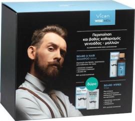 Vican Πακέτο Προδφοράς Wise Men Beard & Hair Shampoo Fresh Σαμπουάν για Άνδρες 200ml & ΔΩΡΟ Bread Wipes Fresh 12τεμ Μαντηλάκια για Καθαρισμό Γενειάδας
