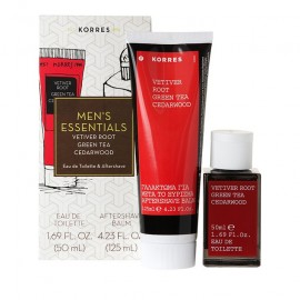 Korres Mens Essentials Άρωμα Eau de Toilette Vetiver Root, Green Tea, Cedarwood 50ml + Aftershave Balm 125ml