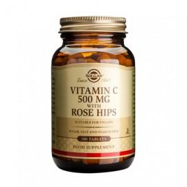 Solgar Vitamin C 500mg with Rose Hips Συμπλήρωμα Διατροφής Βιταμίνη C για Ενίσχυση του Ανοσοποιητικού & Αντιοξειδωτική Δράση, 100tabs