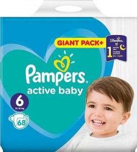 Pampers Active Baby Πάνες Giant Pack Μέγεθος 6 (13-18 kg), 68 τεμάχια