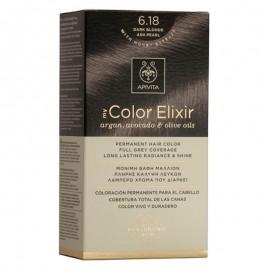 Apivita Βαφή Μαλλιών 6.18 My Color Elixir Κit Μόνιμη Ξανθό Σκούρο Σαντρέ Περλέ