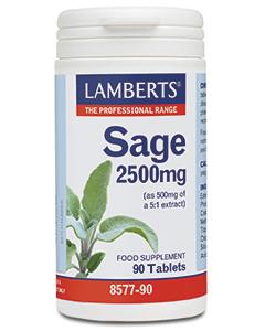 Lamberts Sage 2500mg Φασκόμηλο για την Διατήρηση της Μνήμης και την μείωση των Συμπτωμάτων Εμμηνόπαυσης 90 Ταμπλέτες