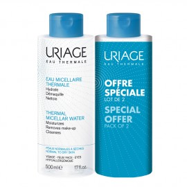 Uriage Eau Thermale Eau Micellaire (1+1 ΔΩΡΟ) Καθαριστική Λοσιόν Προσώπου & Ματιών για την Κανονική προς Ξηρή Επιδερμίδα , 2x500ml