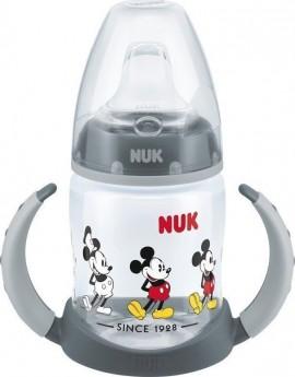 Nuk First Choice Plus Disney Mickey Μπιμπερό PP με Λαβές 6-18m με Ρύγχος Σιλικόνης, Μickey - Γκρι, (10.743.829) 150ml