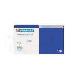 Alfashield Γάντια Νιτριλίου Μιας Χρήσεως Χωρίς Πούδρα X-Large (9-9,5) Μπλε Χρώμα, 100τμχ
