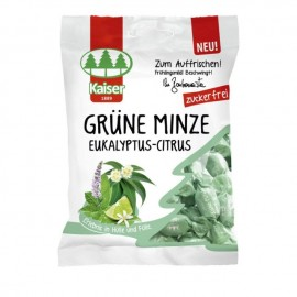 Kaiser Καραμέλες Grune Minze με Δυόσμο,Ευκάλυπτο και Lime για το Βήχα- Χωρίς Ζάχαρη, 60gr