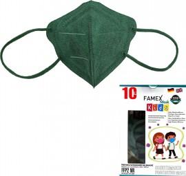 Famex Kids Mask FFP2 NR Forest Green, Παιδική Μάσκα Μιας Χρήσης Πράσινη 10τμχ