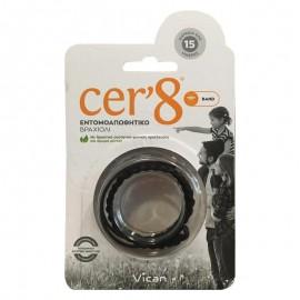 Vican Cer8 Band Εντομοαπωθητικό Βραχιόλι Μαύρο Cer8, 1 τεμάχιο
