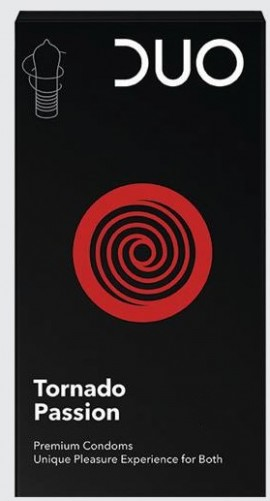 DUO Προφυλακτικά Premium Black Tornado Passion, 6τμχ