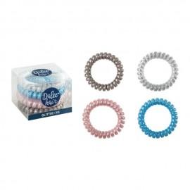 Medisei Dalee  Λαστιχάκια Μαλλιών Spiral Glitter Σπιράλ, 4 Τεμάχια