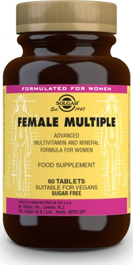 Solgar Female Multiple, Πολυβιταμίνη για τις Ανάγκες της Σύγχρονης Γυναίκας, 60 Φυτικές Ταμπλέτες