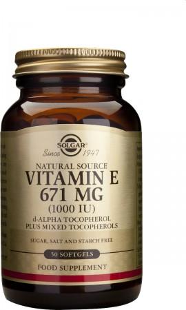 Solgar Vitamin E 671mg Natural 1000IU, Συμπλήρωμα με Βιταμίνη Ε, 50 δισκία
