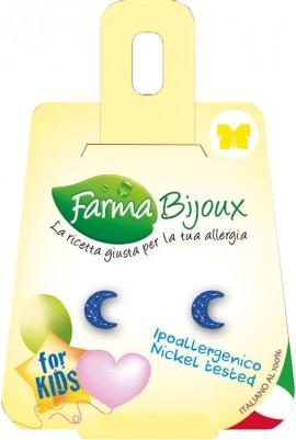 Farma Bijoux Σκουλαρίκια Μπλε Φεγγαράκια 7x5.5mm, 1 Ζευγάρι