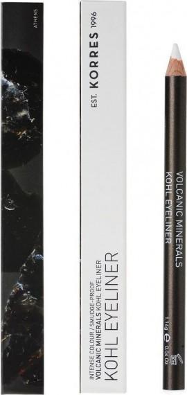 Korres Volcanic Minerals Kohl Eyeliner Μολύβι Ματιών 03 White/Λευκό 1.14g