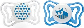 Chicco PhysioForma Light Σιλικόνης Blue/White Fox/Stars, Εργονομική Πιπίλα με Θηλή Σιλικόνης για Ηλικίες 6-16m 2τμχ