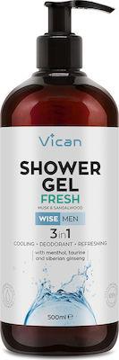 Vican Wise Men Shower Gel Fresh Ανδρικό Αφρόλουτρο με Αίσθηση Φρεσκάδας - Απαλό Άρωμα Σανταλόξυλου & Musk, 500ml