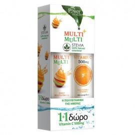 Power Health Multi+Multi Συμπλήρωμα Διατροφής με Γλυκαντικό από Στέβια, 20 eff tabs & Δώρο Vitamin C 500mg, 20 eff tabs