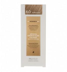 Korres Abyssinia Superior Gloss Colorant Μόνιμη Βαφή Μαλλιών 8.0 Ξανθό Ανοιχτό 50ml