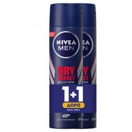Nivea Ανδρικό Αποσμητικό Dry Impact Spray 48H 150ml 1+1 Δώρο