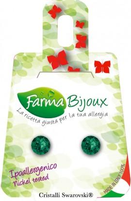 Farma Bijoux Σκουλαρίκια Κρύσταλλο Emerald 6.2mm, 1 Ζευγάρι