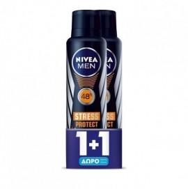 Nivea Men Ανδρικό Αποσμητικό Spray 48ωρης Προστασίας, Stress Protect,  2x150ml, 1+1 ΔΩΡΟ