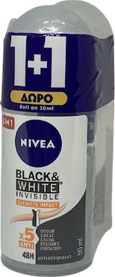Nivea Αποσμητικό Roll-on Γυναικείο Black & White Invisible Ultimate Impact 5 in 1 48ωρης Προστασίας 1+1 ΔΩΡΟ, 2x50ml