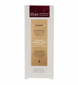 Korres Abyssinia Superior Gloss Colorant Μόνιμη Βαφή Μαλλιών 55.66 Καστανό Ανοιχτό Έντονο Κόκκινο 50ml